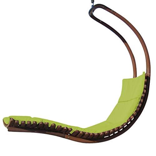 ASS Diseño Hamaca Colgante NAVASSA-Seat-Verde de Madera alerce/Metal Comodo cojin (sin Soporte)