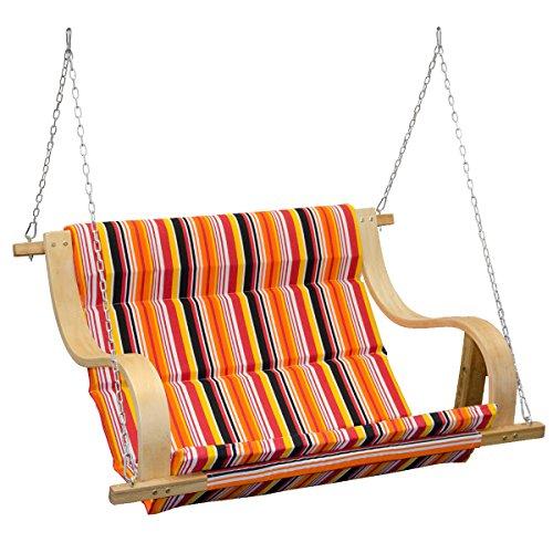 AMANKA Balancin de Jardin | Cubierto con Tela en Rayas de Colores | Columpio para Toda la Familia | Elementos de fijación incluidos